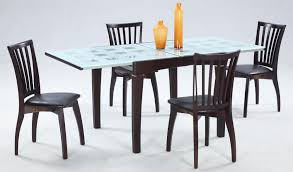 Glass Dining Table Set Tempered Glass Dining Table With Wood Base - Four dining room chairs