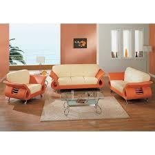 Beige Orange Modern Living Room Set Global Furniture - Orange living room set