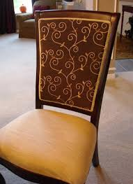 How To Upholster A Dining Chair Back How To Reupholster Dining Room Chairs From Thrifty Decor