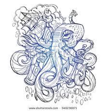 octopus ship frigate anchored sketch tattoo stock vector 549236089