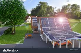 solar wind power house 3d concept stock illustration 444088945