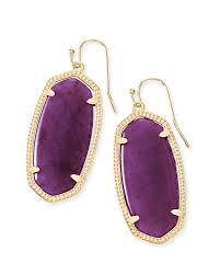 purple earrings gold drop earrings in purple jade kendra