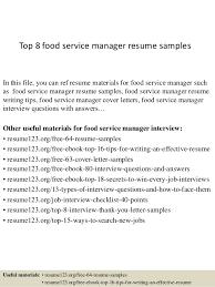Resume Samples For Food Service by Top 8 Food Service Manager Resume Samples 1 638 Jpg Cb U003d1427985461