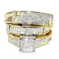 wedding set rings yellow gold trio wedding set mens women rings real 1