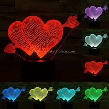le de bureau led flèche à travers le style de coeur 7 décoloration de couleur le