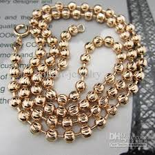 beaded gold chain necklace images 2018 18k rose gold filled necklace 20 beads chain link lady 39 s 4mm jpg