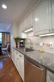 granite backsplash ideas kitchen contemporary with crown molding