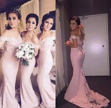 blush peach pink cheap bridesmaid dresses long 2016 off the