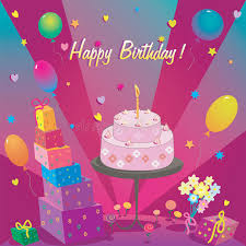 template for happy birthday card with cake and ballon stock vector