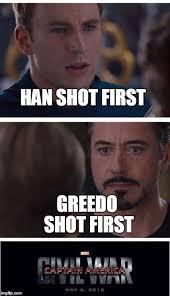 Han Shot First Meme - marvel civil war 1 meme imgflip