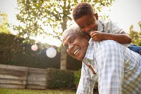 grandfather s young black boy climbing on his grandfather s back in garden stock
