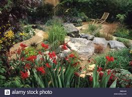 feng shui garden design pamela red border with crocosmia
