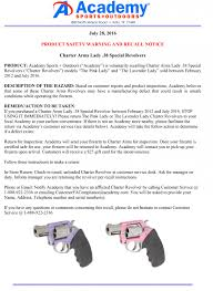 breaking academy sports recalling charter arms lady revolvers