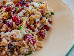 brown rice salad with cranberries walnuts mint and feta recipe