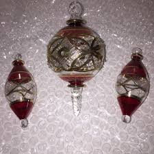 set of 3 blown glass etched 14k gold trimmed
