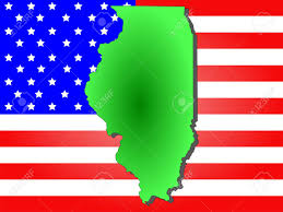 Map Of Illinois State by Map Of The State Of Illinois And American Flag Stock Photo