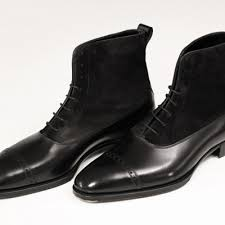 handmade men oxford dress boot men black suede and leather ankle