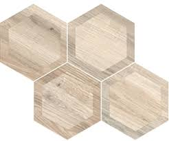 porcelain hexagon 8 inch wood look tile white inlay