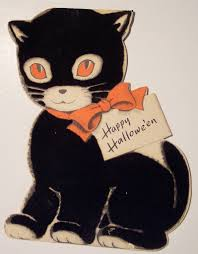 vintage halloween illustration vintage halloween diecut cat card 1956 dave flickr