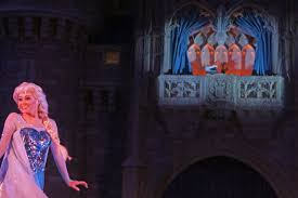 frozen holiday castle lighting stage show walt disney