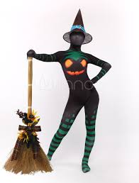 black suit halloween black witch zentai suit halloween pumpkin print lycra spandex
