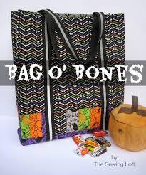 halloween tote bag pattern bag o bones the sewing loft