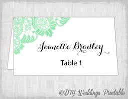 printable name place cards place card template mint lace wedding place card templates
