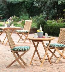 Folding Patio Bistro Set Plantation Grown Solid Teak Outdoor Folding Bistro Set Round