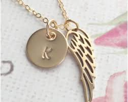 14k Gold Initial Disc Necklace Gold Angel Necklace Etsy