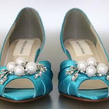 wedding shoes kitten heel mermaid blue kitten heel wedding shoes with pearl and rhinestone