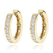 small gold hoop earrings hoop earrings 14k gold inside out diamond huggie earrings 1 2ct