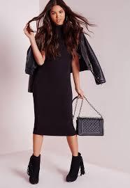 high neck cap sleeve midi dress black missguided