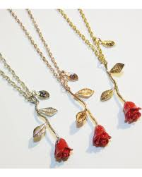 red flower necklace images Hot summer bargains on beauty and the beast rose necklace red