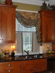 kitchen window ideas brown espresso wood x flor table with drawer curtains kitchen
