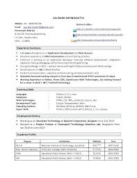 sample resume format for experienced person sample resume format