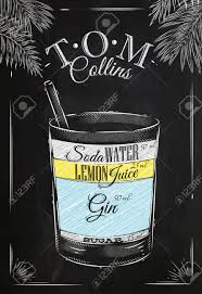 retro martini drawing tom collins cocktail in vintage style stylized drawing with chalk