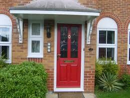 exteriors red front door design with glass front door and wooden