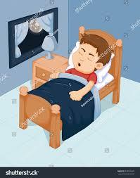 Bedroom Cartoon Cute Boy Cartoon Sleeping Bedroom Stock Vector 498185629