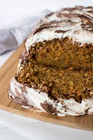 carrot cake loaf with nutella swirled cream cheese frosting pass