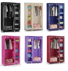 clothes cupboard vinsani double canvas wardrobe clothes cupboard hanging rail