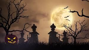 creepy graveyard halloween background scene graves evil