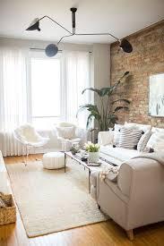 interesting modern living room set white leather sofa brick wall