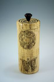 functional art wooden vessel hand made from chinese elm decorated