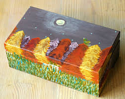 Yellow Decorative Box Kids Jewelry Box For Christmas Angel Wooden Box For Baby Boy