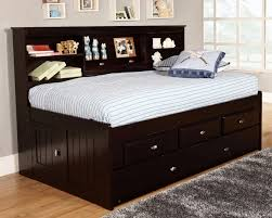 twin captains bed with bookcase headboard wonderful bedroom black stained wooden captain bed with trundle and