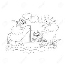 coloring page outline of a jolly frog floating on a boat royalty