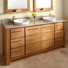 Bathroom Vanities With Vessel Sinks Awesome White Themed Bathroom With Chrome Faucet Also White Wooden