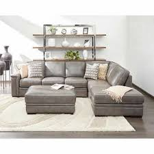 Light Gray Leather Sofa 1717 Leather Sectional Sofa In Light Grey Color By J M Furniture