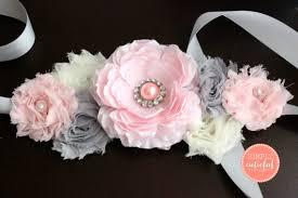 baby shower sash pink gray maternity sash maternity belt baby shower sash