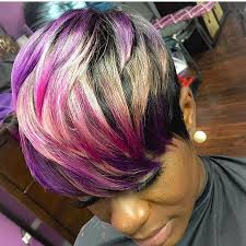 weave hairstyles with purple tips this hair color is so pretty on this pixie can you believe it s